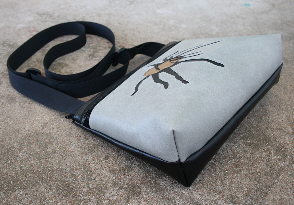 Tarantula on grey small crossbody purse