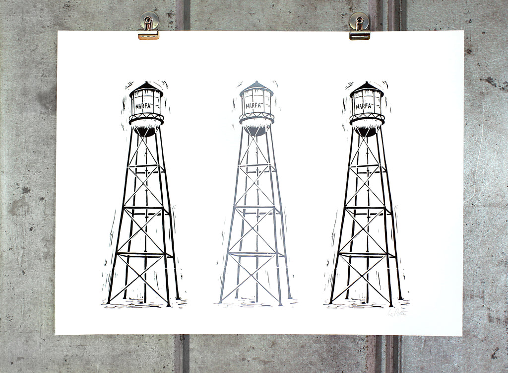 Triple print Marfa Water Tower on 18x24 paper
