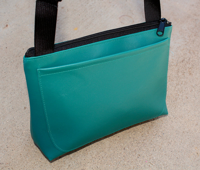 Striped roadrunner on all turquoise sm crossbody