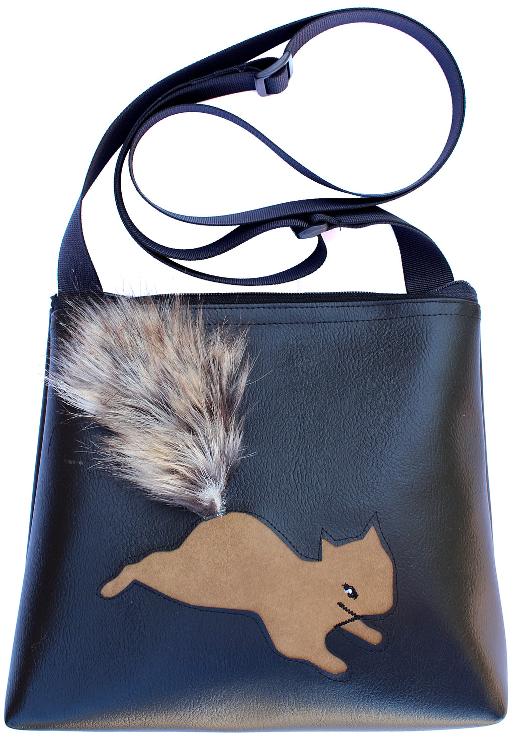 Squirrel on Black mid-size crossbody