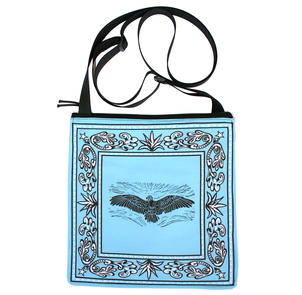 Bandana bag: vulture on turquoise