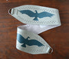 Denim blue vulture on grey vinyl belt