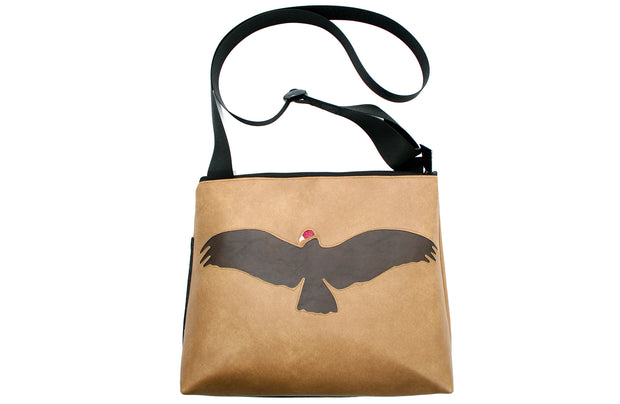 Vulture on tan vinyl large bag