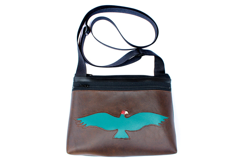 Turquoise vulture on brown small crossbody purse