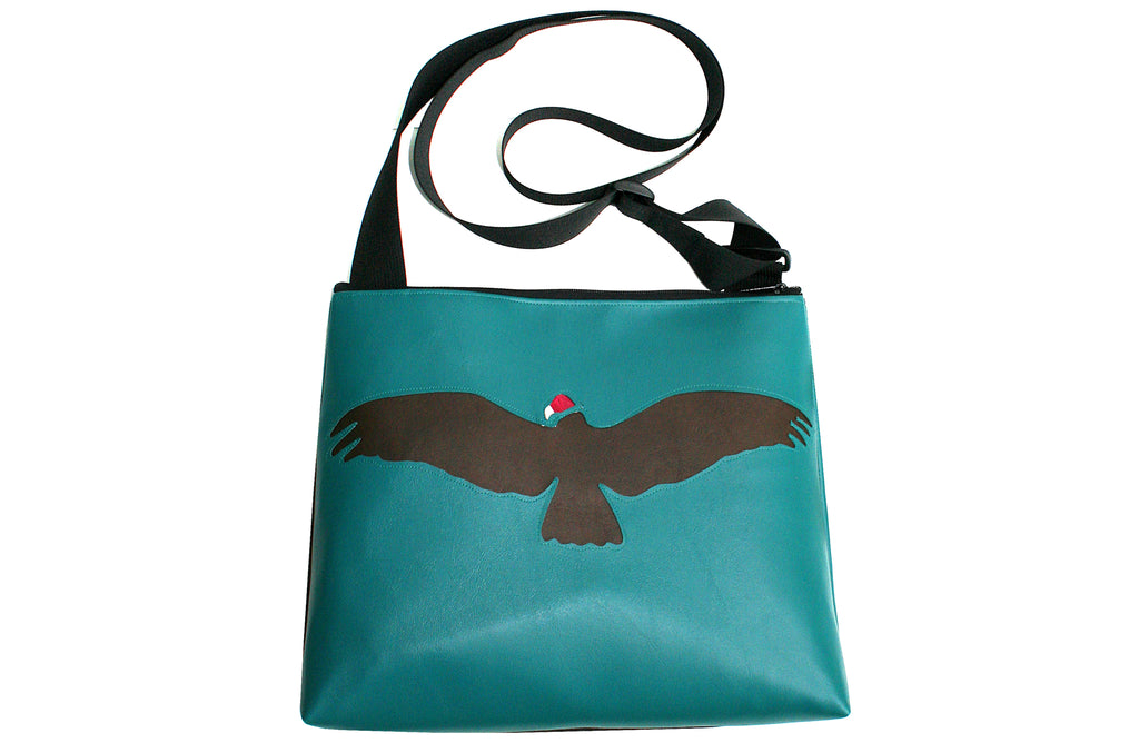 Vulture on turquoise vinyl large bag