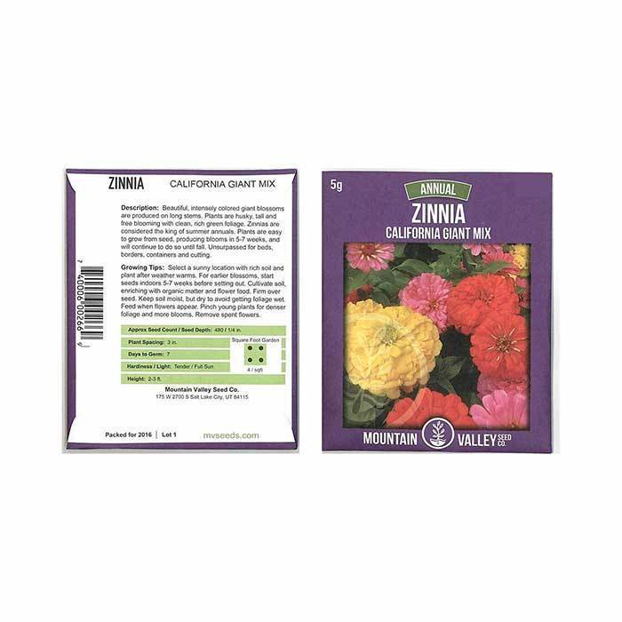 Annual Flower Seeds - Zinnia 'California Giant Mix'