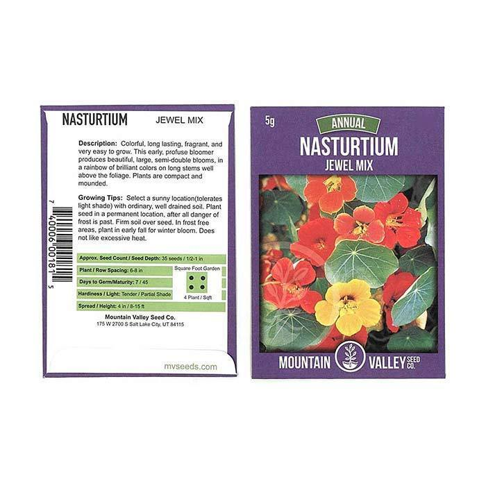 Annual Flower Seeds - Nasturtium 'Jewel Mix'