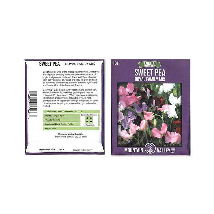 Annual Flower Seeds - Sweet Pea 'Royal Family Mix'