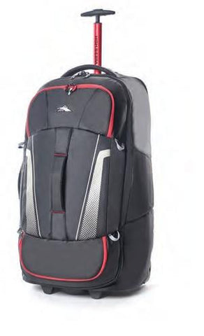 HIGH SIERRA 76CM COMPOSITE WHEELED DUFFLE S V3 WS (Black/Red) - bag space Darling Harbour