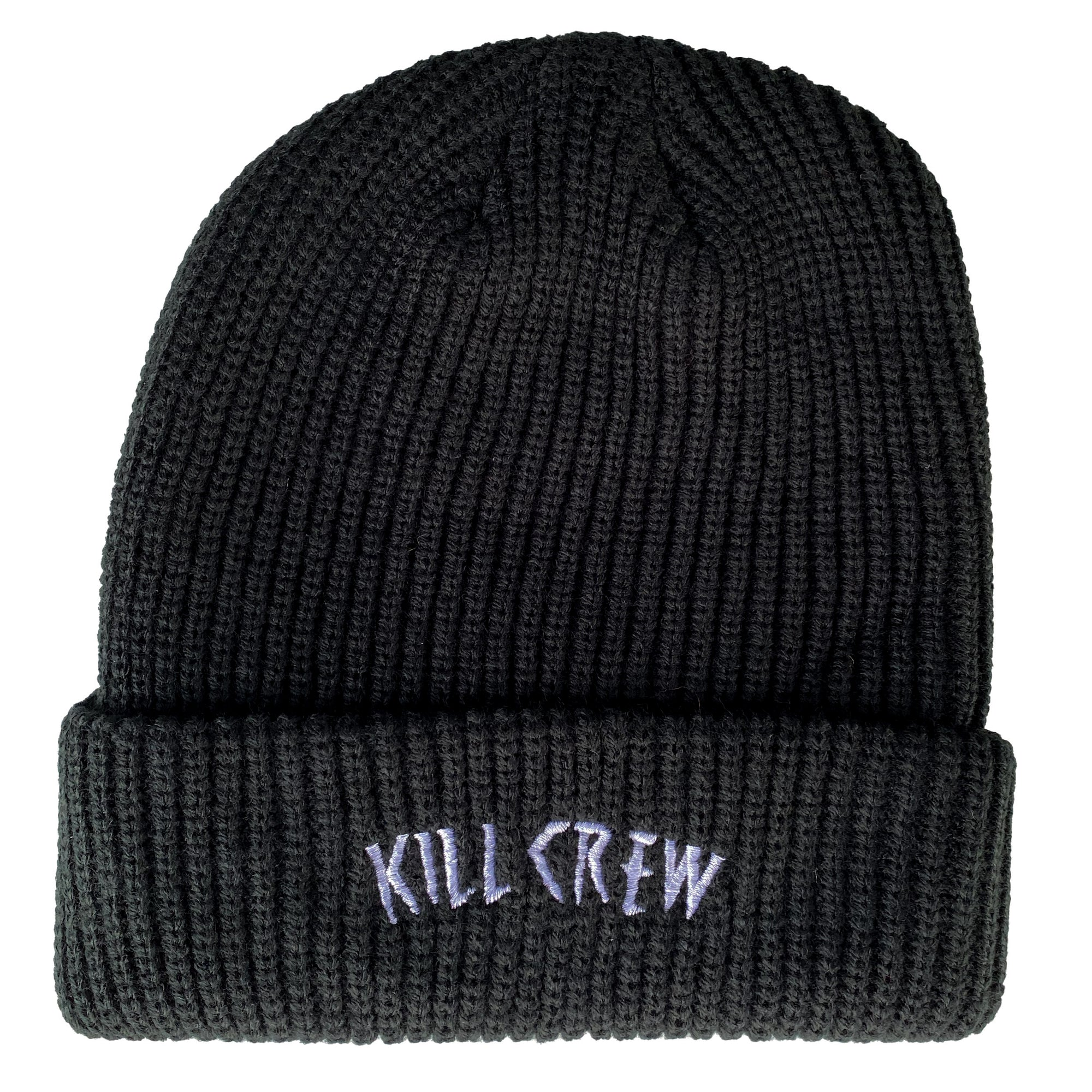 EMBROIDERED CUFFED BEANIE - BLACK