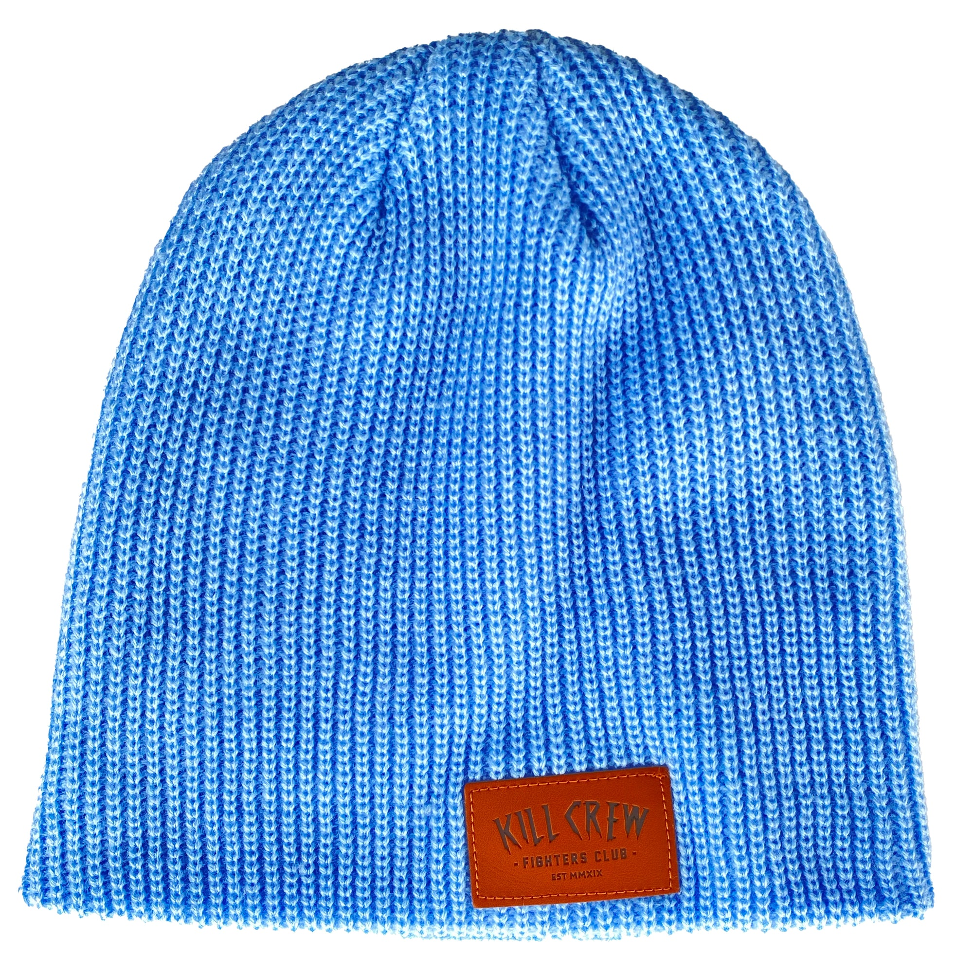 LEATHER PATCH BEANIE - SKY BLUE