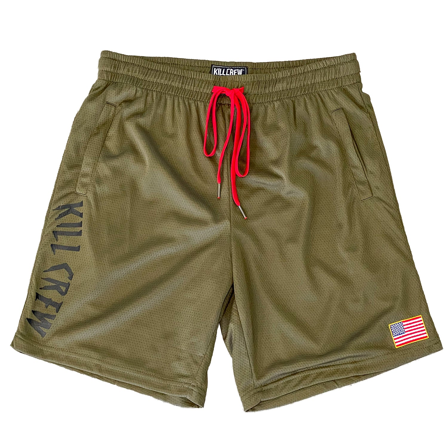 EMBROIDERED FLAG SHORTS - OLIVE