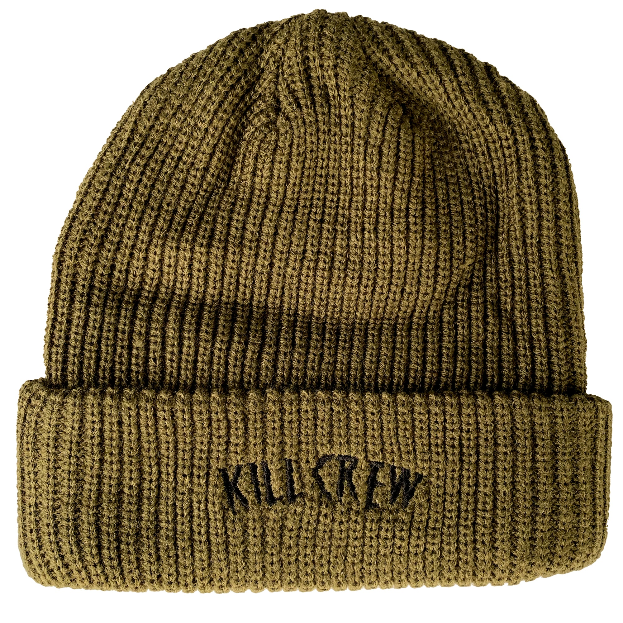 EMBROIDERED CUFFED BEANIE - OLIVE