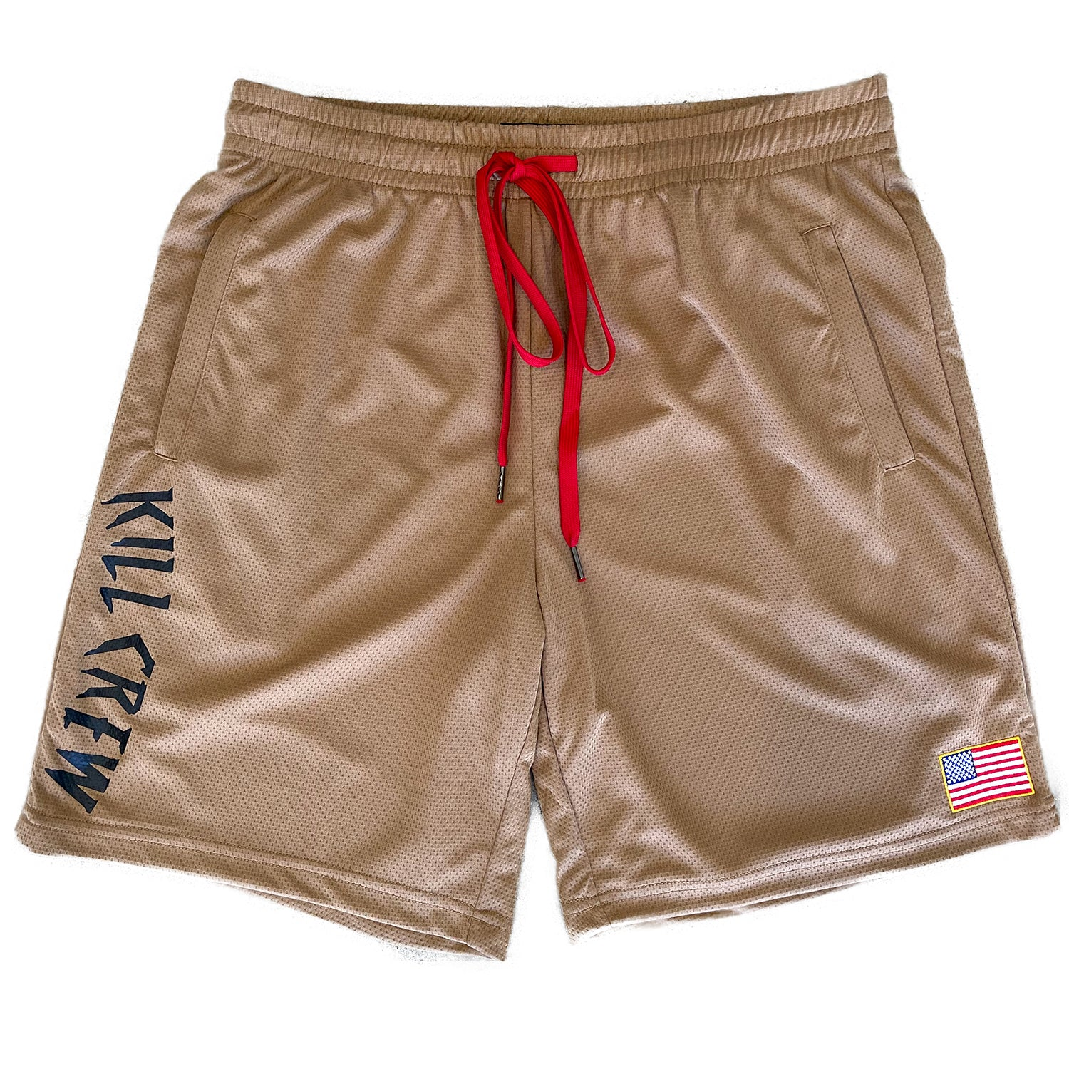 EMBROIDERED FLAG SHORTS - SAND