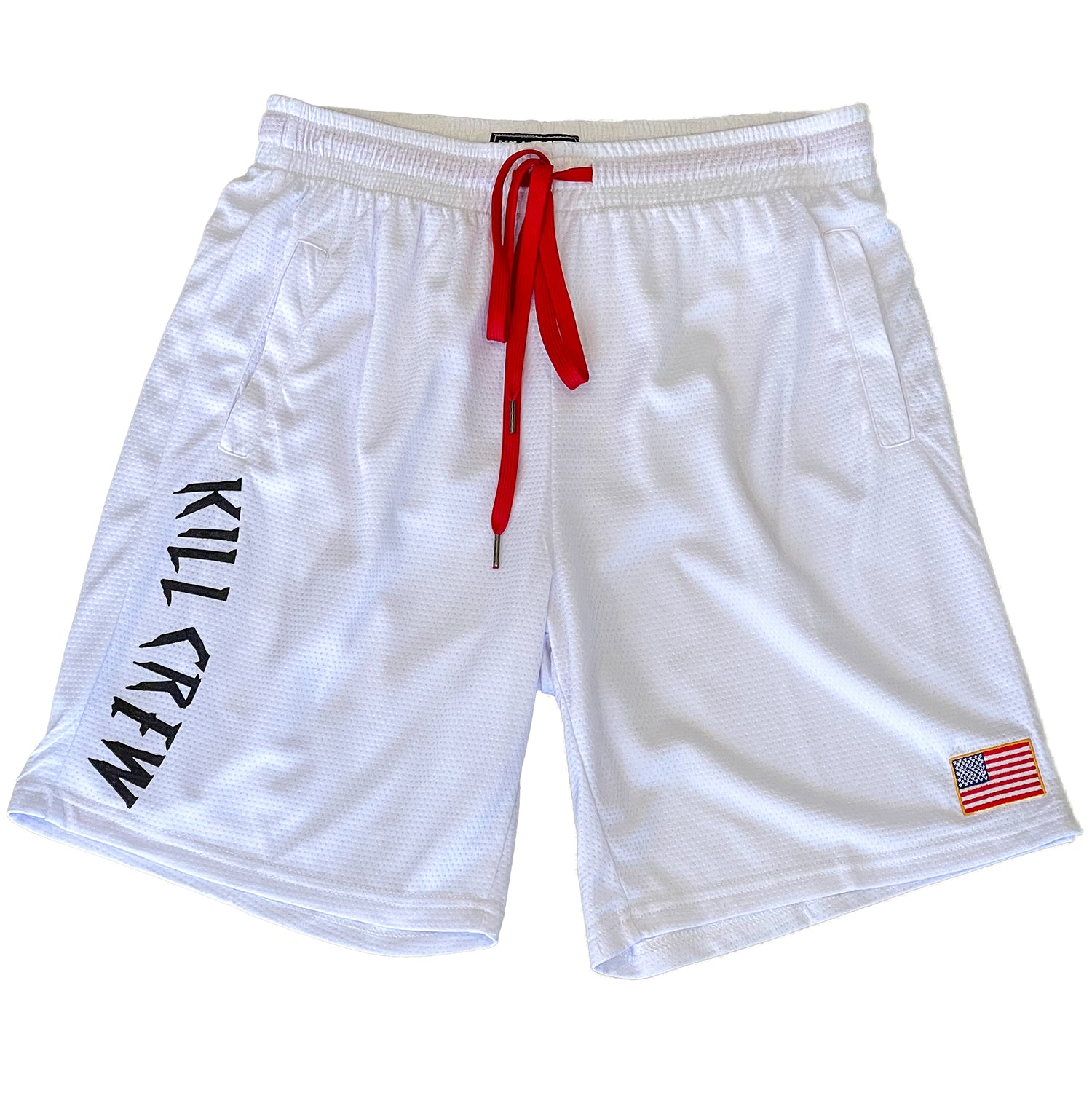 EMBROIDERED FLAG SHORTS - WHITE