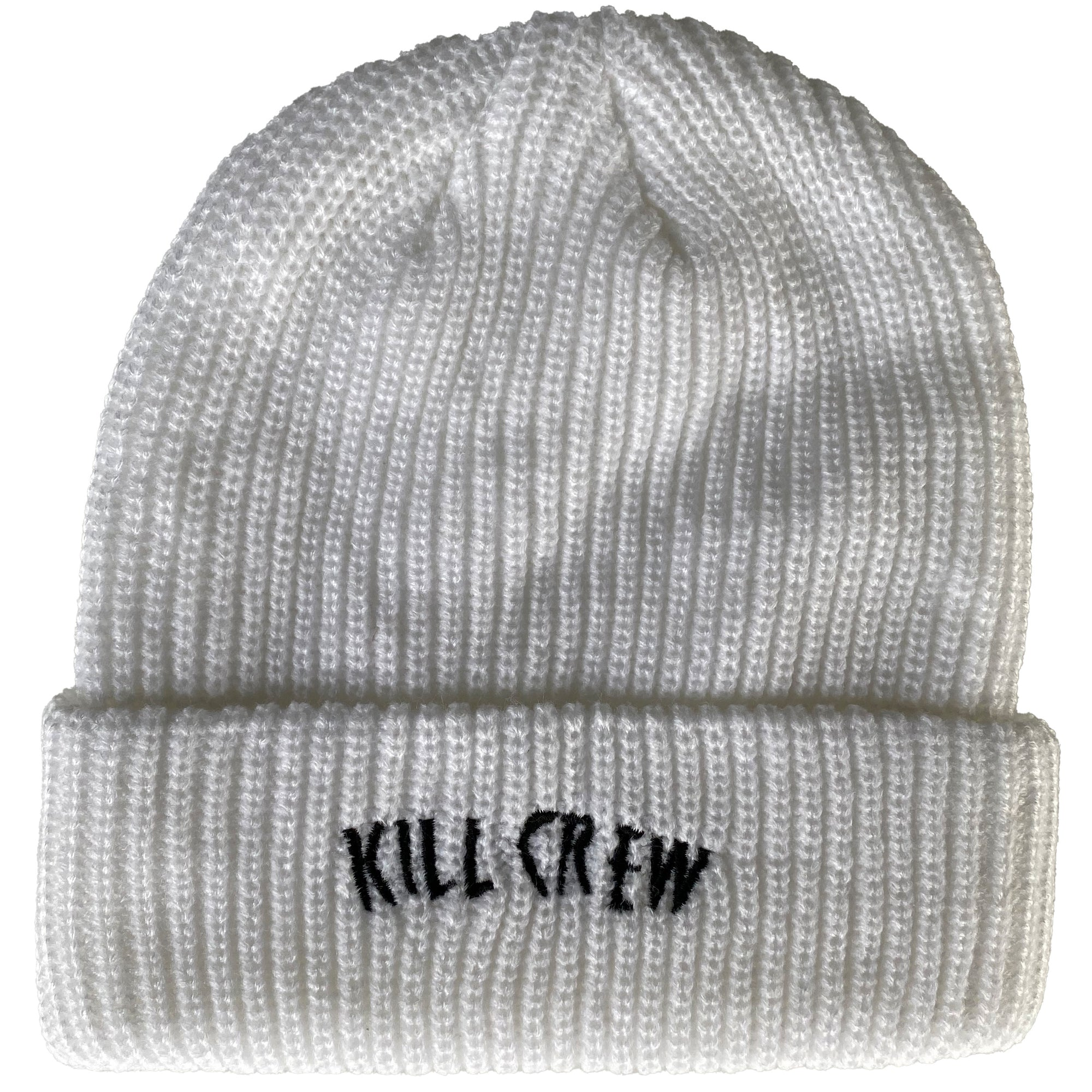 EMBROIDERED CUFFED BEANIE - WHITE