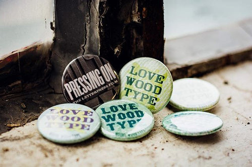 Love Wood Type Button