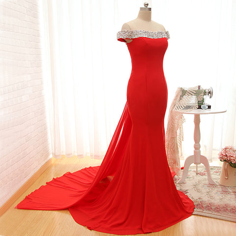 R1 Sexy off the shoulder red prom dress,mermaid red evening dress