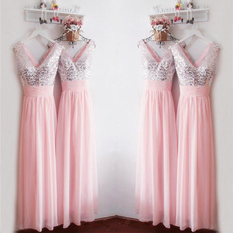 Top Sequin A Line Long Chiffon Pink Simple Cheap Bridesmaid Dress Wedding Party Dress