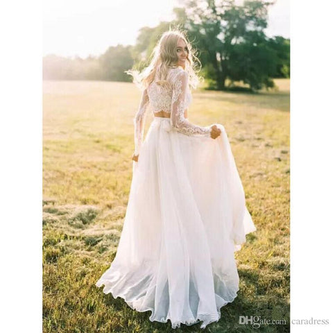 c8cb05c861 Plus Size Bohemian Long Sleeves Lace Crop Top Chiffon Skirt Beach Country Wedding  Gowns