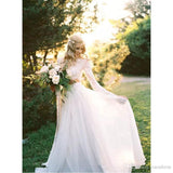 Plus Size Bohemian Long Sleeves Lace Crop Top Chiffon Skirt Beach Country Wedding Gowns