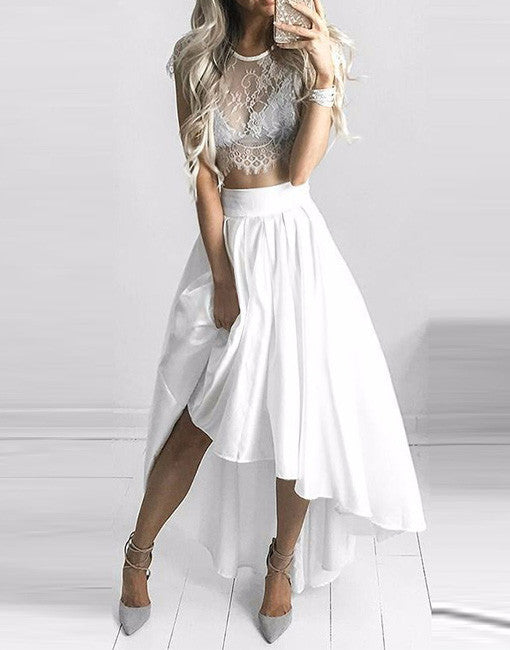 7e609a34fc254 White Lace Two Piece High Low Homecomig Dress,Cap Sleeve Lace Short Prom  Dress