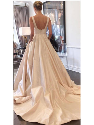 A-line Satin with Pocket Chapel Train Simple Light Champagne Bride Wedding Dress