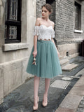 A-line Off-the-shoulder Knee Length Two Piece Tulle Short Prom Dress