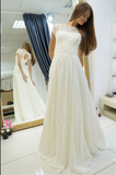 A-line Wedding Dresses,Sweep Train Cap Sleeves Wedding Dress with Lace