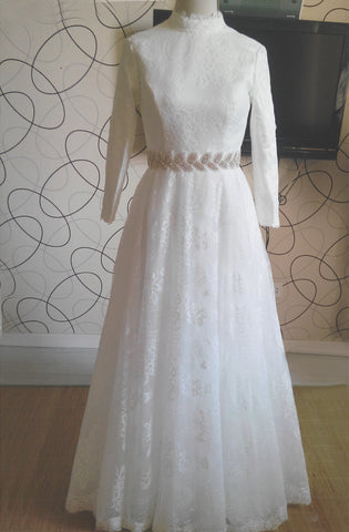 High Neck A Line Long Lace Wedding Dress with Long Sleeves,Full Lace Bridal Dress