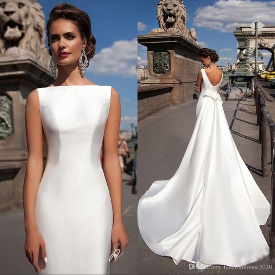 A Line Long Formal Elegant Simple Satin Wedding Dress With Court