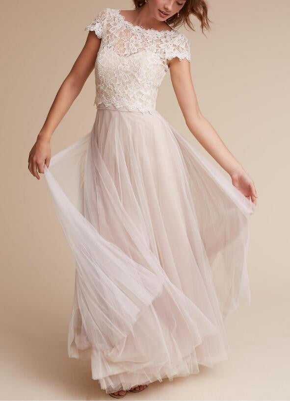 A Line Two Piece Long Tulle Lace Simple Wedding Dress,Short Sleeve ...