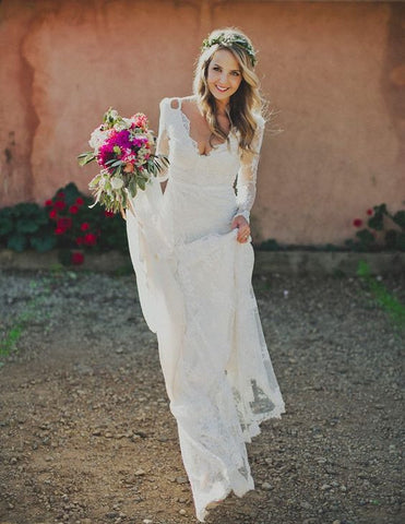 A Line V Neck Romantic Full Lace Wedding Dress,Long Sleeve Lace White Beach Bride Dress
