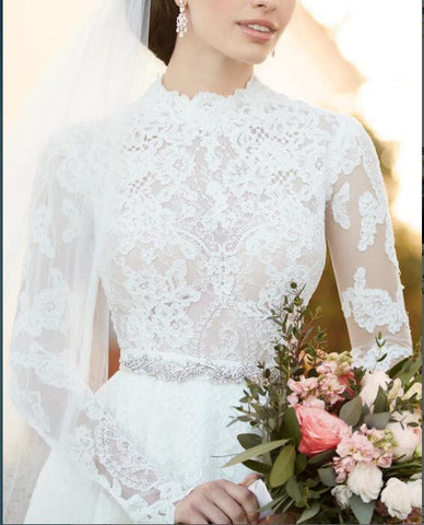 A Line White Full Lace Long Sleeve Wedding Dress,Formal Elegant Romantic Wedding Gown