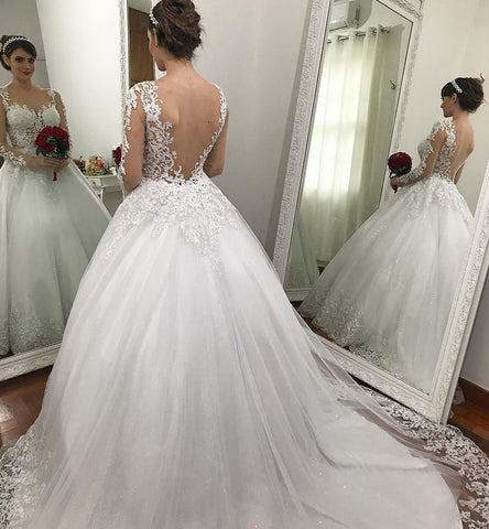 Appliques Lace Sexy Mermaid Tulle Ball Gown Wedding Dress