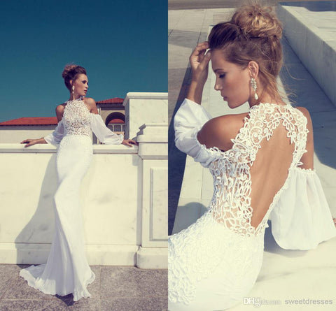 High Neck Mermaid Lace Off-Shoulder Long Wedding Dress