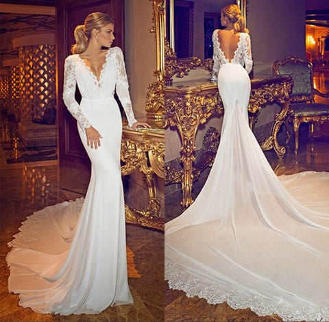Deep V Neck Backless Mermaid Fashion Lace Long Sleeve Wedding Dress