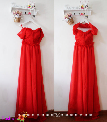 Off Shoulder Red Chiffon Bridesmaid Dress,Red Prom Formal Evening Dress,Bridesmaid Dress