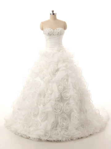 Handmade Flower Long Tulle Luxury Ball Gown Sweetheart Wedding Dress