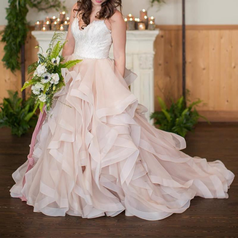 Blush Pink Organza Ball Gown Wedding Dresses With White
