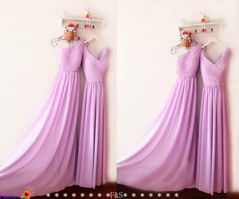 Bridesmaid Dress Chiffon,Long Chiffon Prom Dress,One Shoulder Lilac Bridesmaid Maxi Dress