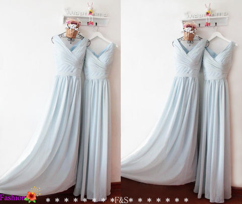 Dusty Blue Bridesmaid Prom Dress,V neck Prom Dress,V Neck Long Chiffon Bridesmaid Dress