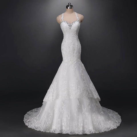 Charming Halter Neck Mermaid Lace Wedding Dress Slim Wedding Dress
