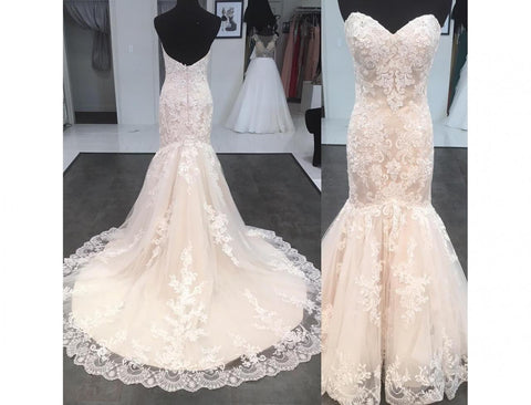 Charming Sweetheart Off the Shoulder Lace Elegant Mermaid Wedding Dresses