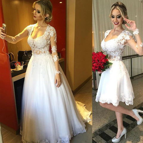 Two in One Lace Long Sleeves Wedding Dresses,A Line Lace Long Sleeves Bridal Dress