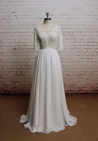Simple A Line Long Lace Chiffon Wedding Dress with Half Sleeves