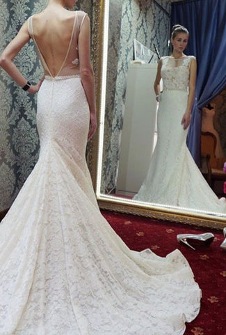 Mermaid Long White Lace Wedding Dress with Backless