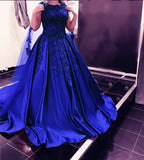 Gorgeous Strapless Ball Gown Royal Blue Satin Long Lace Wedding Dress Bridal Gown