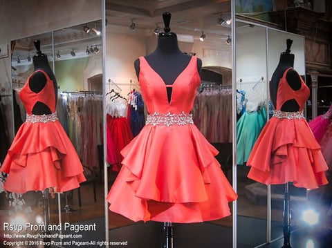 Coral V-Neck Short Homecoming Dress,V-neck Sleeveless Prom Dresses