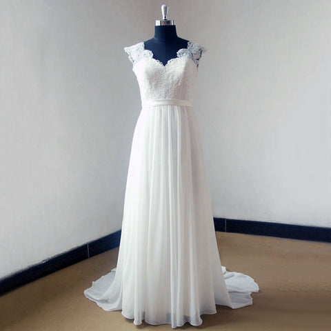 Summer Cap Sleeve A Line Long Chiffon Lace Wedding Dress